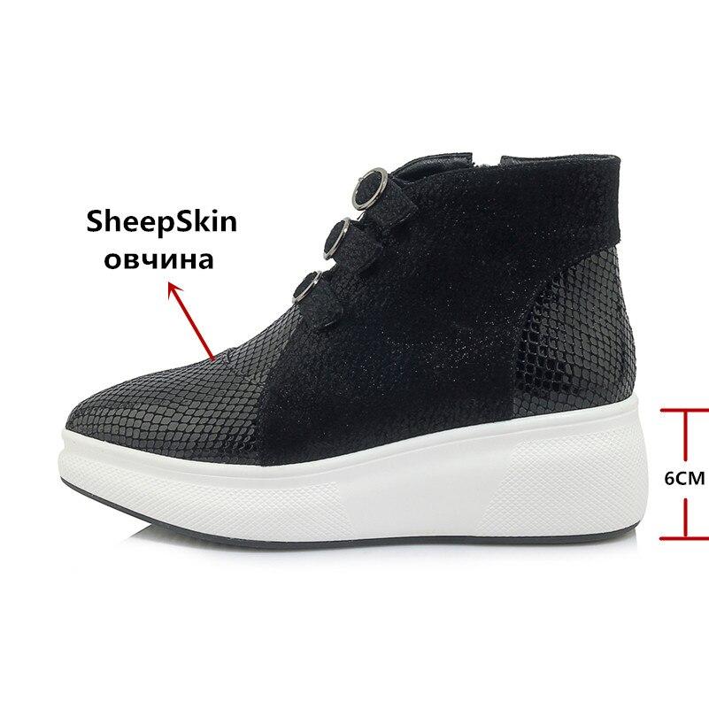 Fedonas 새로운 여성 발목 부츠 정품 가죽 웨지 하이힐 신발 캐주얼 가을 겨울 따뜻한 플랫 신발 여성 기본 부츠-에서앵클 부츠부터 신발 의  그룹 3