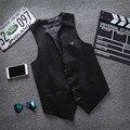 Atacado roupas 4 botões de Negócios dos homens Sem Mangas Colete de Fitness Fino Coletes masculinos Ternos Formais Colete Plus Size M-3XL MQ230