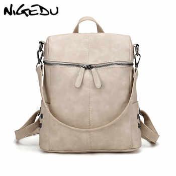 Simple rivet Women multifunctional backpack female shoulder bag Large capacity PU Leather Backpacks For Teenage Girls School Bag - DISCOUNT ITEM  45% OFF All Category