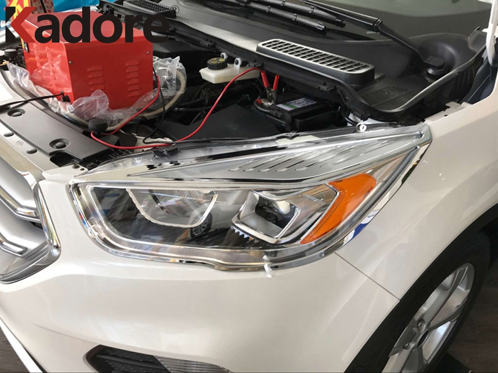 For Ford Escape Kuga 2017 2018 Car Accessories Abs Chrome Front Headlight Decoration Cover Trim Protector Sticker 2pcs
