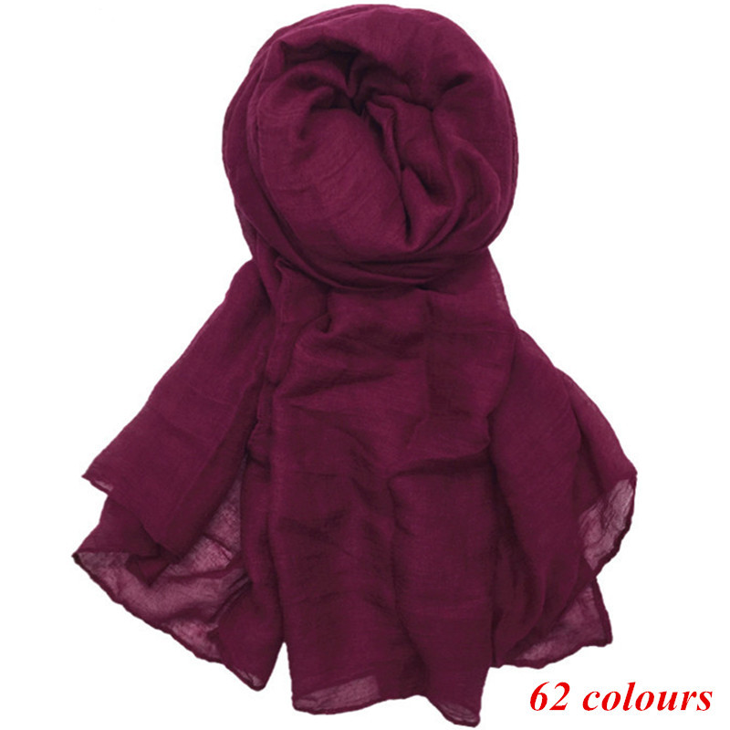 Large Maxi Plain Scarf Solid Hijab Fashion Wraps Foulard Viscose Cotton Shawls Soft Muslim Women Scarves Hijabs 10pcs/lot