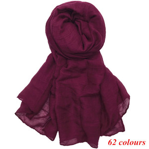 Image 1 - Large maxi plain scarf solid hijab fashion wraps foulard viscose cotton shawls soft muslim women scarves hijabs 10pcs/lot