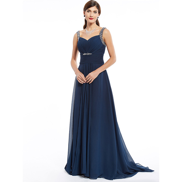 Dressv dark navy long evening dress cheap beading ruched sleeveless wedding party formal dress a line evening dresses 4