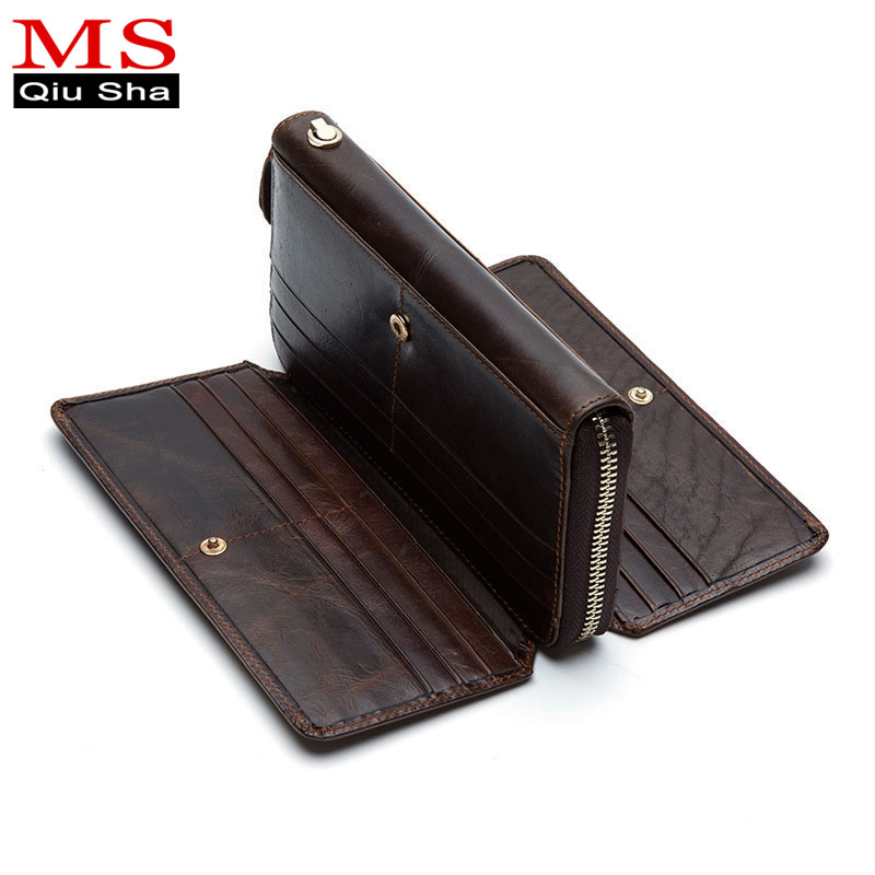 MS.QIUSHA New Faction Men's leather wallet Clutch money clip wallet long men's wallets business man card wallet brand male purse new arrival 2017 wallet long vintage man wallets soft leather purse clutch designer card holders business handbags clips