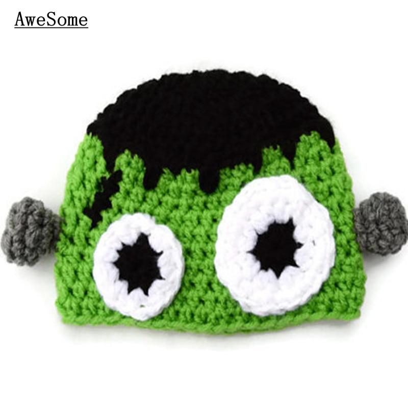 Free Shipping Crochet Baby Halloween Hatchild Frankenstein Hatbaby