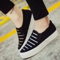 New Spring Metal Stripe Woman Casual Shoes Flat Platform Canvas Shoes Color Silver Gold XWD3029