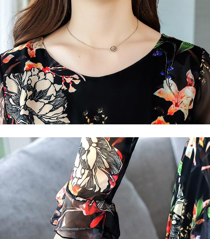 Dingaozlz M 3XL New 2019 Autumn Dresses Fashion Long sleeve Chiffon dress Retro Printed Long Women dress Plus size in Dresses from Women 39 s Clothing