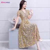 HANZANGL New Arrive 2018 Summer Dress Women Short Sleeve V Neck Lace Dress Hollow Out Work