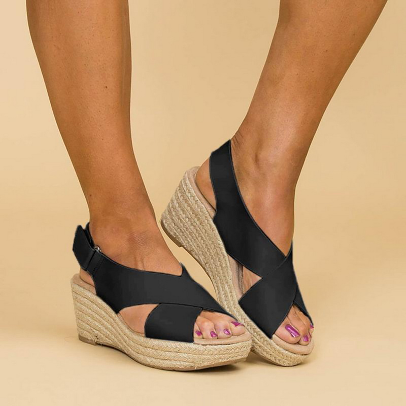Sandals Ladies Wedge Platform Thick-Bottom-Shoes Peep-Toe High-Heels Fish-Mouth Casual