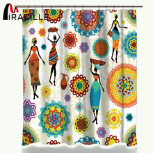 Miracille Bathroom Product African Women Printed Shower Curtains Waterproof Polyester Fabric Bath Curtain with 12 Hook HomeDecor