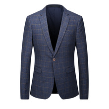 2018 Men's High quality wool casual printing grid leisure suit Men's fashion single breasted blazers Business blazer jacket