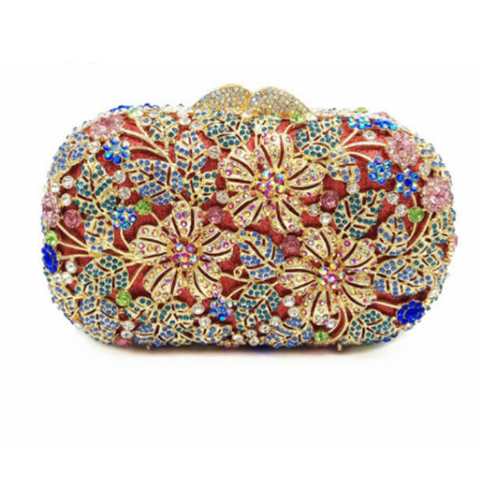 Luxury Female floral Clutch Bag Women Handbag Diamonds Crystal Handbags Hollow Out Party Evening HandBag Ladies Day Cluthes luxury female floral clutch bag women handbag diamonds crystal handbags hollow out party evening handbag ladies day cluthes