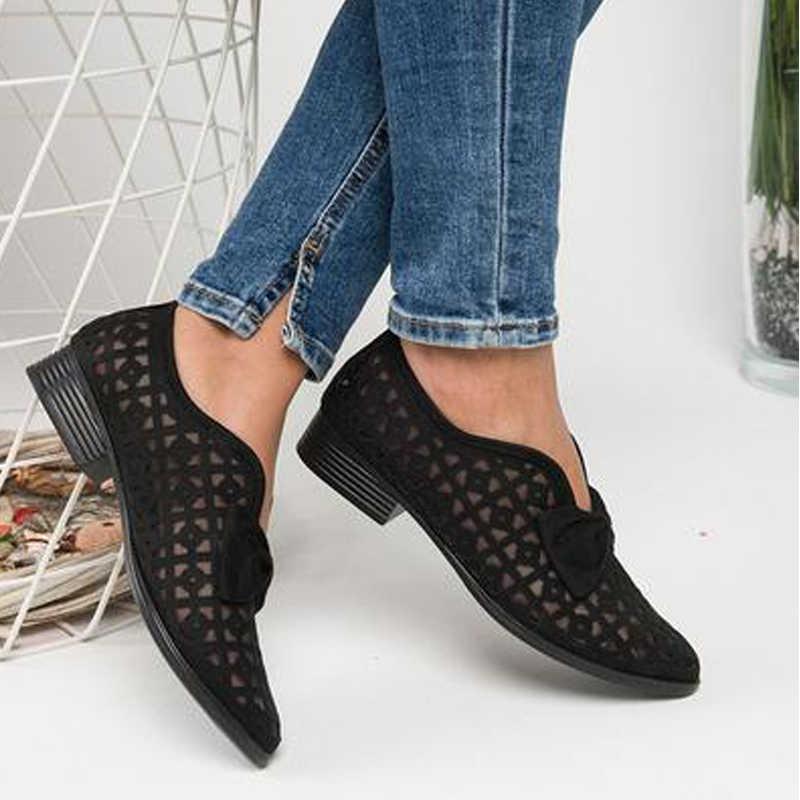 Bowtieชี้Toeผู้หญิงปั๊มรองเท้าผู้หญิงลื่นบนLoafersชี้ToeหนังFeminino Zapatos De Mujer 2020