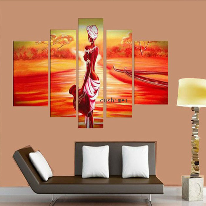 Good Hand Painted India Gril Oil Painting On Canvas 5pcs/set Modern Sunrise Paint  Art Living