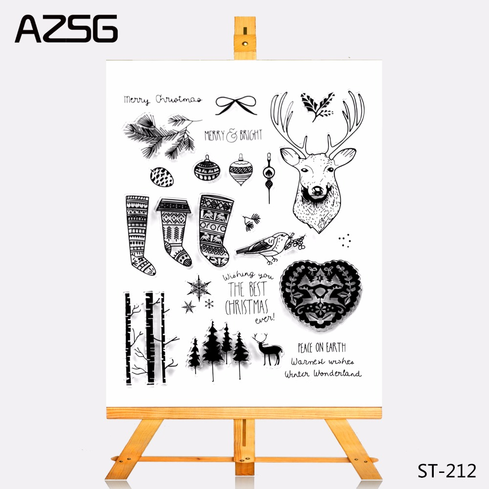 AZSG Transparent Clear Stamps Merry Christmas Elements Seal For DIY Scrapbooking Photo Album Card Making Decoration Supply In From Home Garden