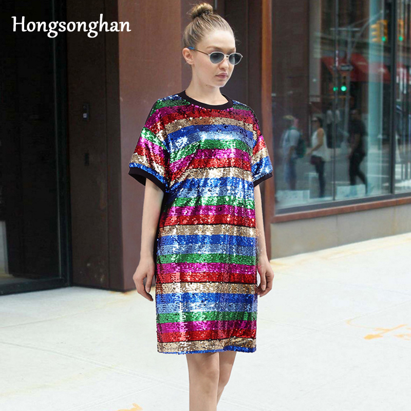 Hongsonghan 2018 new short sleeve loose street style O-neck rainbow striped Sequined dress bright-coloured women tops tide