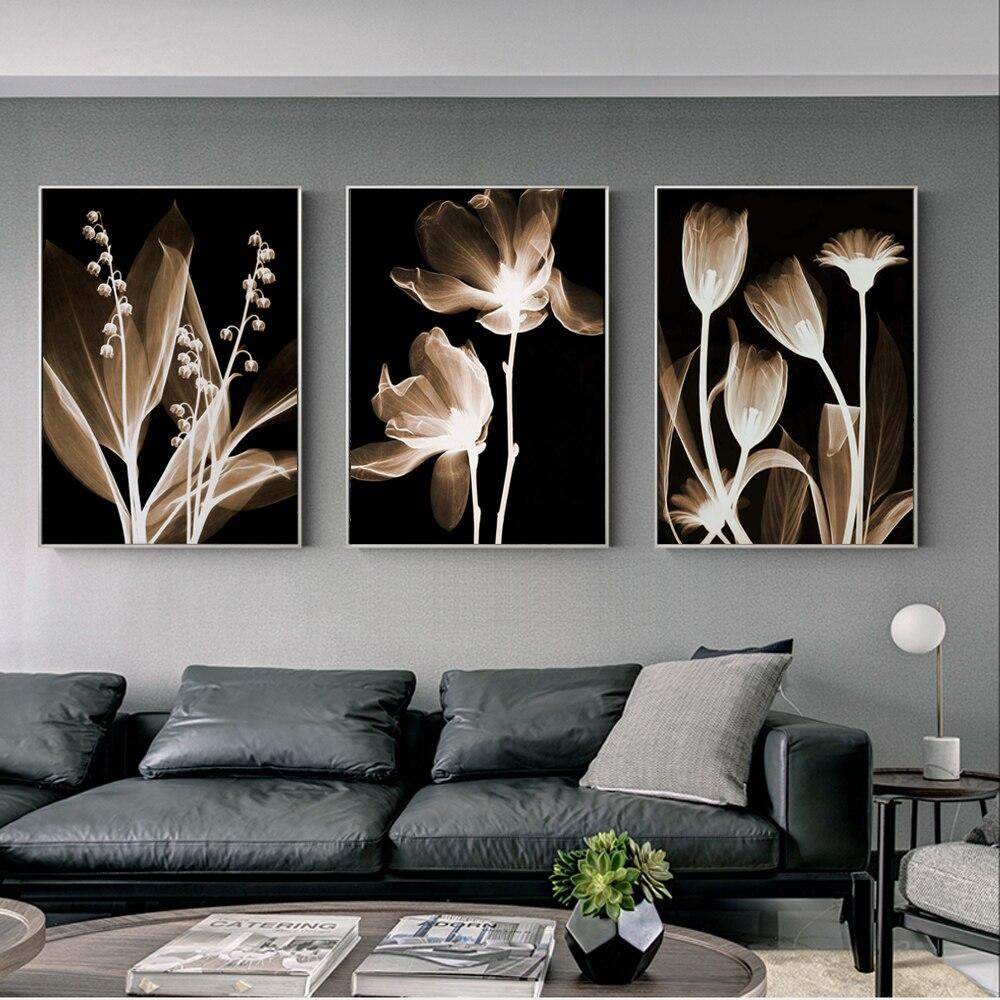 Абстрактные цветы, настенная живопись на холсте, 3 шт. модульные картины на стену, постеры и принты цветы, печать на холсте, Cuadro|Рисование и каллиграфия|   | АлиЭкспресс