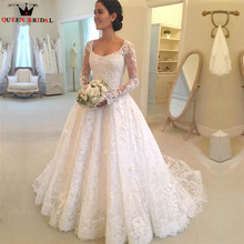 QUEEN BRIDAL Custom Made A-line Long Sleeve Wedding Dresses