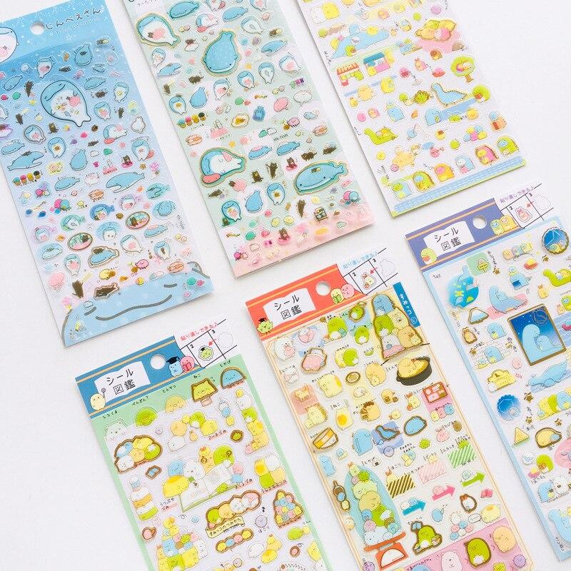 Japanese Cute Biological Gilding Transparent PVC Sticker DIY Handbook Diary. Memo Pad Decorative Sticker Stationery