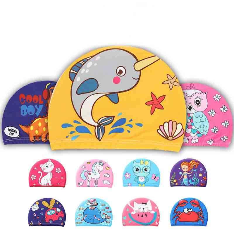 เด็กการ์ตูนยืดหยุ่นพิมพ์หมวกว่ายน้ำกีฬาสระว่ายน้ำชุดว่ายน้ำน่ารักหมวกว่ายน้ำเด็ก/เด็ก/ชาย/Babys ว่ายน้ำ CapsAA353