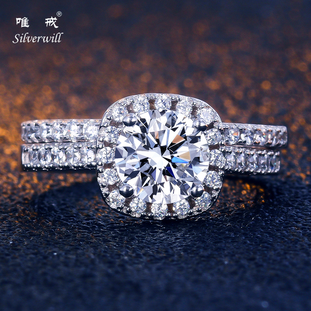 Silverwill 925 Sterling Silver Round Radiant Wedding Rings Stone Affordable Ring Halo Bridal Bijoux Luxury