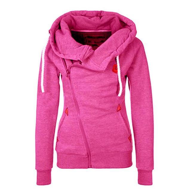 2016 Solid Mujeres Camiseta Sudaderas Hoodies Del Otoño Del Resorte Mujeres del Diseño de la Cremallera Espesar Con Capucha chaqueta con capucha Mujeres S-XL Tamaño