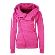 2016 Mulheres Sólidos Hoodies Moletons Hoodies Primavera Outono Mulheres Design Com Zíper Engrossar Casaco Com Capuz Mulheres jaqueta com capuz Tamanho S-XL(China (Mainland))