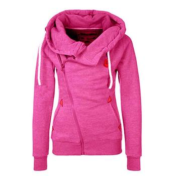 2016 Solid Women Hoodies Sweatshirts Spring Autumn Hoodies Women Zipper Design Thicken Hoody Women hooded jacket  S-XL Size