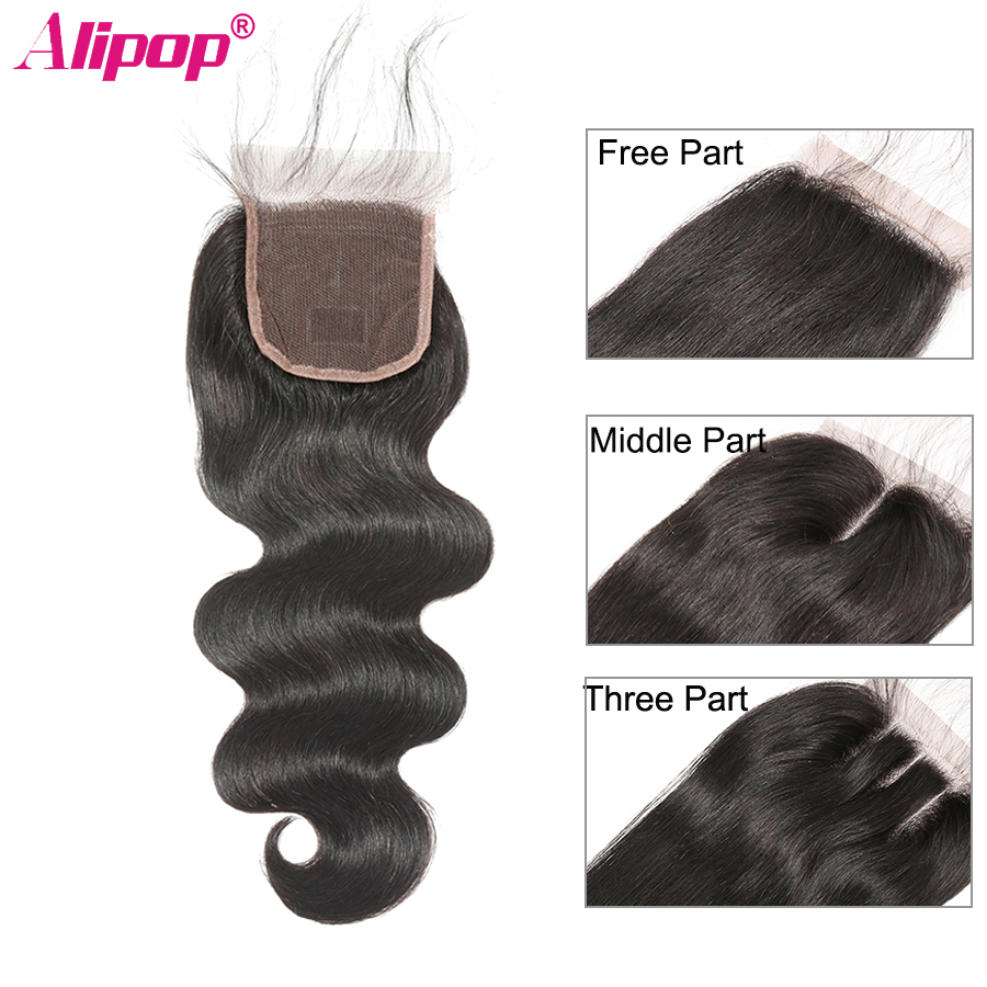 Body Wave Closure Brazilian Human Hair Closure 4x4 Swiss Snørebånd med Baby Hair Remy 130% Tæthed Naturlig Sort 10-24 tommer ALIPOP