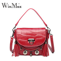 Winmax Genuine Leather Women Shoulder Bag Luxury Multifunction Brand Cow Leather Alligator Tassel Messenger Crossbody Bag