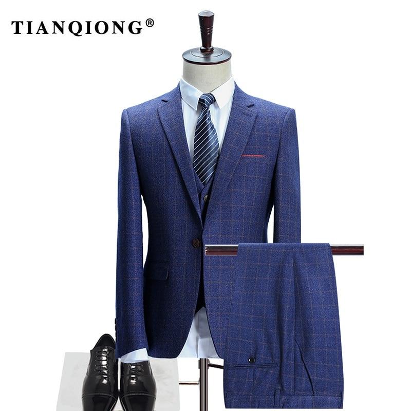 Здесь продается  TIAN QIONG(Jacket+Pants+Vest)Men Woollen Blue Plaid Suits for Men Slim Fit Groom Wedding Suit Male 3 Piece Business Formal Wear  Одежда и аксессуары