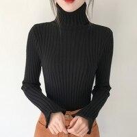 Women turtleneck sweater slim fit basic style