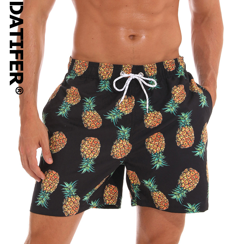 DATIFER ES3J Man Board Shorts Quick Dry Pineapple Print Plus Size Beach Wear Briefs For Men Swimwear Surf Shorts