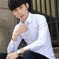 TG6337 Дешевые оптовые 2016 новый Бизнес тип чистый цвет длинный рукав рубашки мужские развивать нравственность досуг белый рубашка