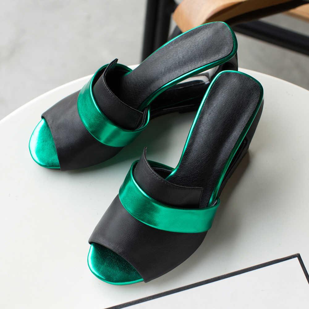 Meotina yazlık terlik Kadın Ayakkabı Doğal Hakiki Deri Fretwork Topuklar Ayakkabı Peep Toe Süper Yüksek Topuk Slaytlar Bayan Sandalet 43