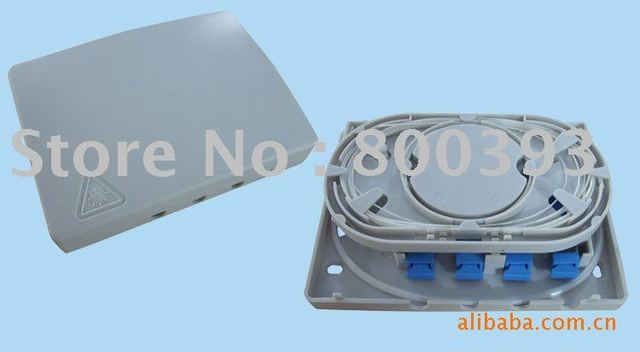 Wholesales,Free Shipping,4 Ports FTTH Optical Socket,FTTx Fiber Terminal Box,Wall Mounted