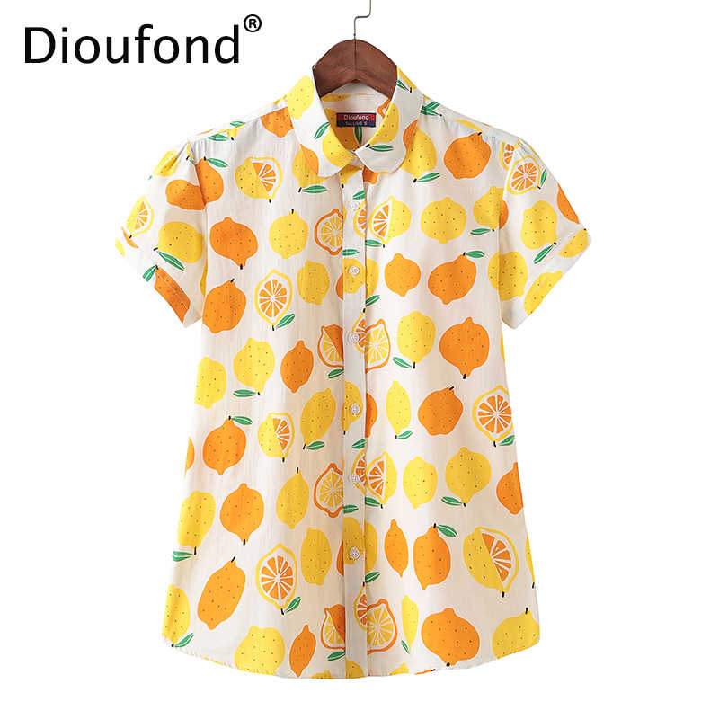 Dioufond 2018 Summer Cotton Lemon Print Short Sleeve Blouse Shirt White Women Loose Hawaiian Fashion Tops Big Size S-5XL