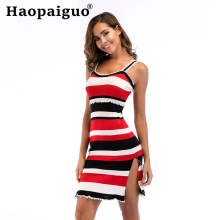 M-XL Plus Size Contrast White Knitted Dress Women Print Striped Split Casual Bodycon Knitting Pleated Ladies Dresses