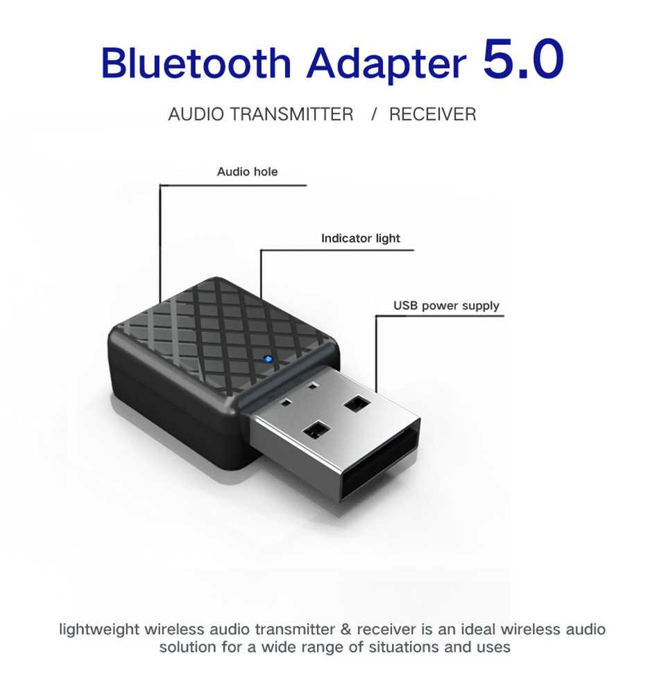 Mini Bluetooth 5.0 Audio Receiver Transmitter 3.5 Mm AUX Jack Stereo Bluetooth Transmitter untuk TV PC Mobil Usb Adaptor Nirkabel