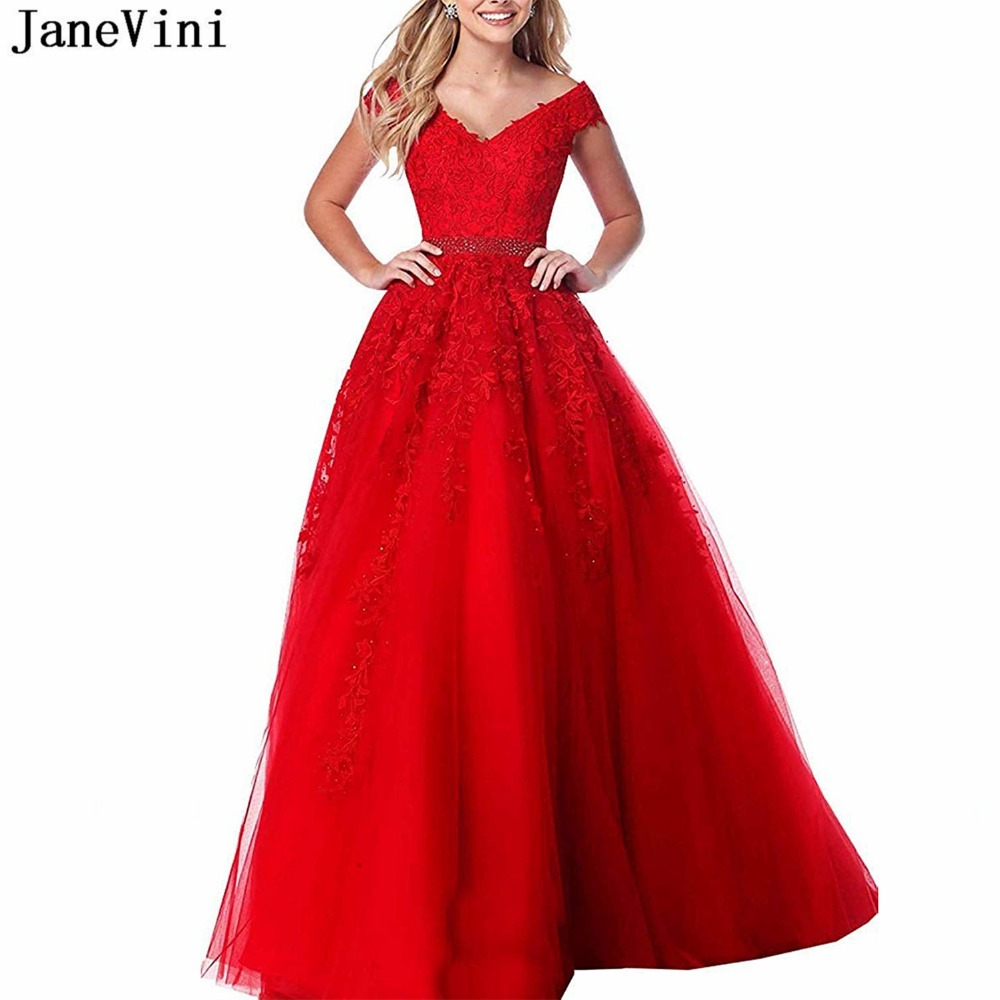 JaneVini 2019 Elegant Red Plus Size   Prom     Dresses   Long V Neck Lace Appliques Beaded Tulle A Line   Prom   Party Gowns Galajurken Lang