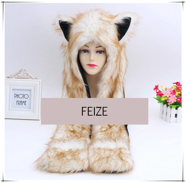 2016 winter warm ear fashion cute animal feux cap hoods hat