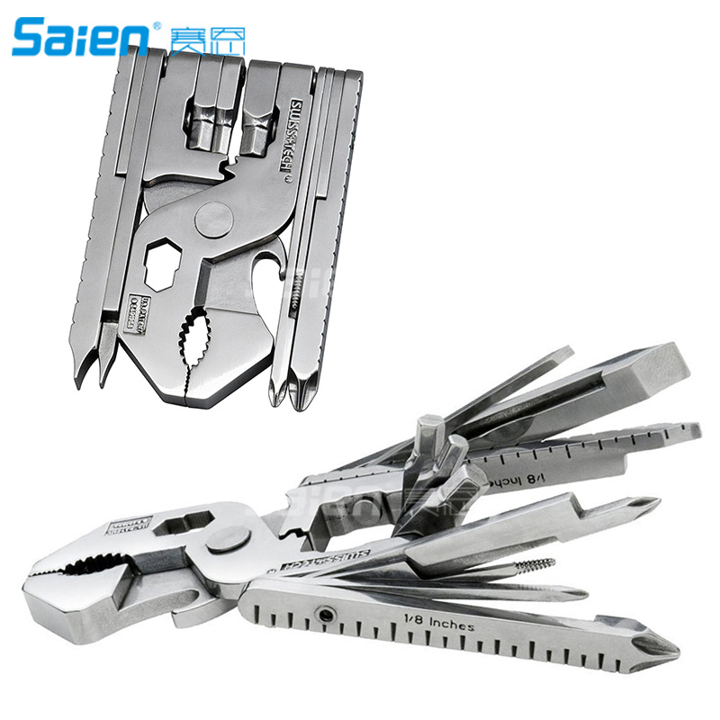 Swiss+Tech Micro Max 22 in 1 Multi Function Tool Set, 2 hex wrenches, screwdrivers, pliers, bottle opener, wire cutter, wire str