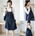 Primavera e outono 100% algodão Denim moda de maternidade Casual Plus Size vestido de uma peça