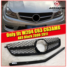 C class W204 C200 C250 C300 350 Only fit C63 C63AMG ABS black Sport Front grill Grille Look Without Sign 08-11