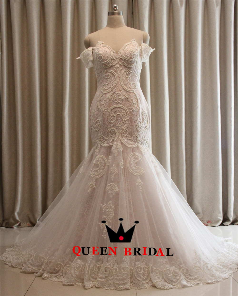 Custom-Made-Mermaid-Lace-Pearls-Sexy-Plus-Size-Bride-Wedding-Gowns-Wedding-Dresses-Robe-de-Mariage (1)