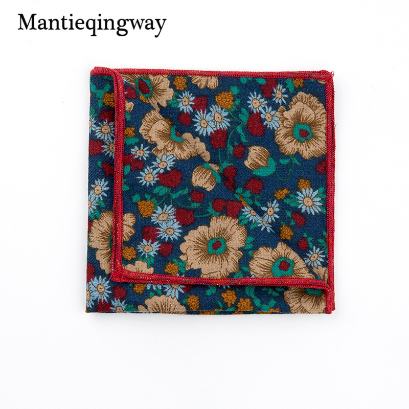 Mantieqingway Floral Handkerchiefs Men's Business Square Pockets Handkerchief Fashion Casual Cotton Printed Hankies For Wedding