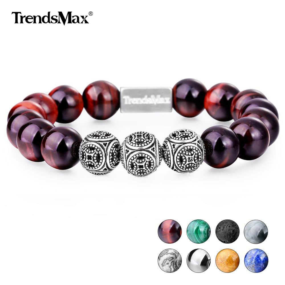 Trendsmax 12MM A Tiger Eye Beaded Bracelets Women Men 925 Sterling Silver Natural Stone Stretch  Dropship Jewelry Gift TBB005