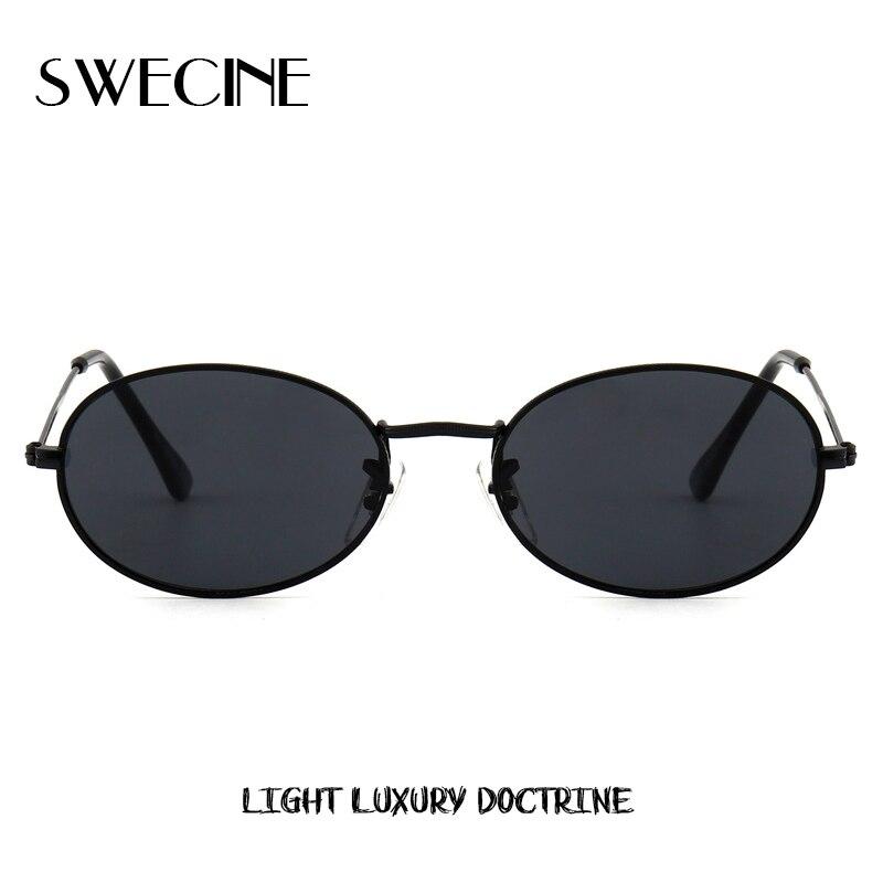 SWECINE Cute Sexy Retro Oval Sunglasses Women Famous Brand Small Black 2018 Vintage Retro Sun Glasses Female Red Eyewear Oculos