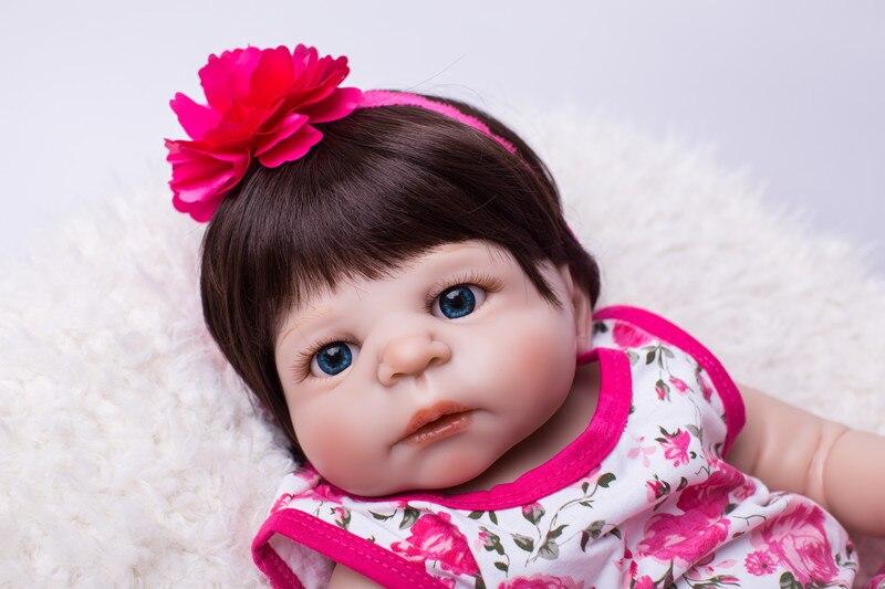 Full Body Silicone Reborn Baby Doll Leker Livlig 55cm Nyfødt Jente - Dukker og tilbehør - Bilde 4