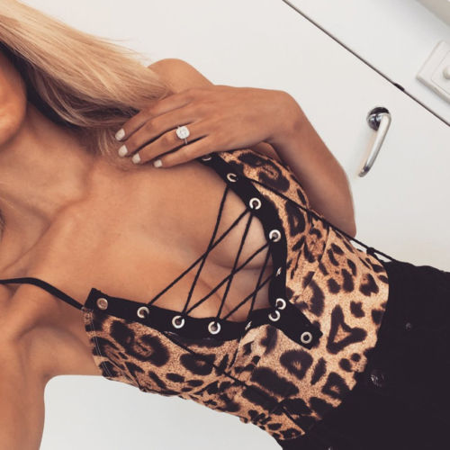 Women Bodycon V Neck Sleeveless Playsuits Bandage Bodysuit Leopard Print Slim Short Romper Consumers First